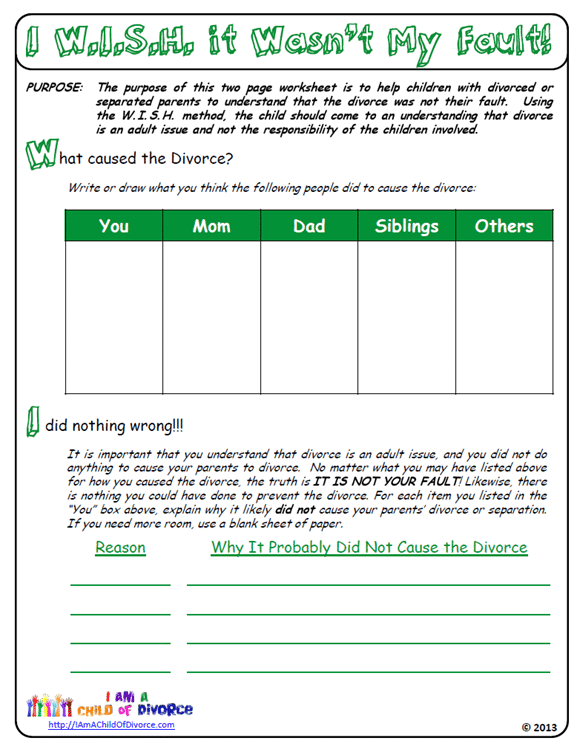 Worksheets Divorce Worksheet was my parents divorce fault i am a child of wish it wasnt page 1